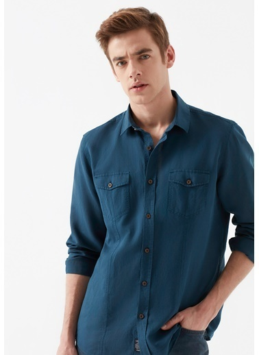 Mavi Keten Gömlek Mavi